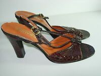 WOMENS VINTAGE BROWN SNAKE SLINGBACK SANDALS CAREER HEELS SHOES SIZE 7 M