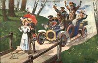 Arthur Thiele - Car Automobile About to Hit Couple c1910 Postcard