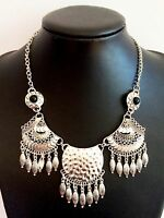Silver Feather Vintage Style Bohemian Mexican Gypsy Tibetan Tassel Necklace