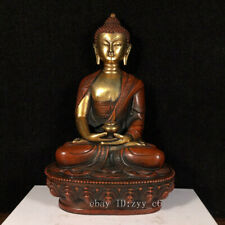 Tibet temple antique Hand carved Pure copper Gilt Sakyamuni Pharmacist Buddha