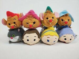 "DISNEY Cinderella TSUM TSUM Lot of 8 Mini 3.5"" Plush 4 Mice Cat Prince Fairy Cin"