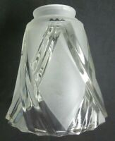 "Glass Lamp Shade 1960 Fan Chandelier Sconce Satin Frosted 2-1/8"" Fitter Rim Vtg"