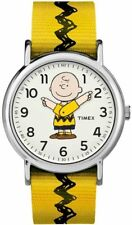 Timex TW2R41100, Peanuts-Charlie Brown Weekender Yellow Slip Thru Fabric Watch