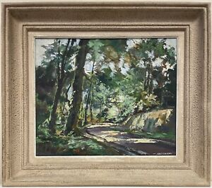 ROBERT FALCUCCI (FRENCH 1900-1989) SIGNED IMPRESSIONIST OIL - WOODLAND PATH