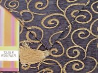"""NAVY & Gold Tassel Embroidery Tapestry 12"""" x 72"""" Table Runner by Lace Dimensions"""