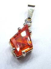 12k Yellow Gold Bail Teardrop Pendant 1.75 Carat Orange Zircon Gem w GP Frame
