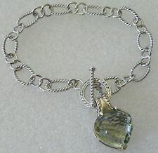 """Sterling Silver Toggle Link Bracelet  Prasiolite  Green Amethyst Heart Charm 7"""""""