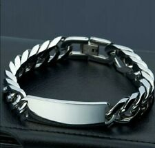 "High Quality 8.66"" 77g 316L Stainless Steel Men's ID Link Bracelet"