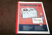 Webster EKOTAPE Tape Recorder first 1948 model instruct +service manual reprint