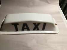 Vintage White Black Plastic Taxi Cab Roof Light Sign Car Accessory