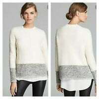 VINCE ∙ XS ∙ Women's Pullover Colorblock Sweater Wool Silk Cashmere Ivory Gray