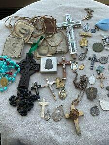 Vintage Lot of Rosary Religious Crucifix Catholic Medals