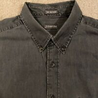St John's Bay Fine Line Denim Button Down Long Sleeve Shirt Men's Large Gray