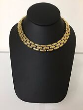 Vintage CINER Gold Tone Heavy Link Statement Choker Necklace  14.25""