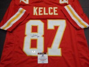 Travis Kelce Kansas City Chiefs Autographed Custom Football Jersey GA coa