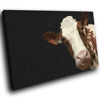 A003 Black Abstract Brown Cow Funky Animal Canvas Wall Art Large Picture Prints