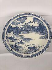 Vintage Ernest Hardware Vernon Kilns Seattle Plate White & Blue