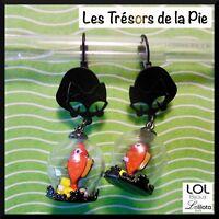 Boucles d'oreilles LOL BIJOUX - CHAT, bocal & poisson rouge - Noir - LOLILOTA