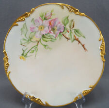 Pair of Pouyat Limoges Hand Painted Pink Wild Rose & Gilt Dinner Plates C. 1906