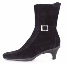 PRADA SPORT Black Suede Buckle Detail Side-Zip Ankle Boots 37
