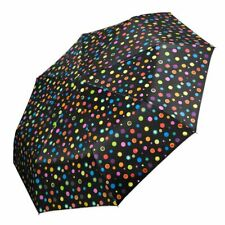Regenschirm klein faltbar Automatik Mini schwarz Punkte Taschenschirm