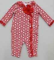 NURSERY RHYME GIRL'S RED WHITE RUFFLED LONG SLEEVE ROMPER New