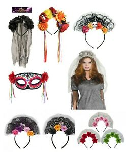 Day of the Dead Halloween Bride Scary Skull Veil Headband SpiderWeb Floral Adult