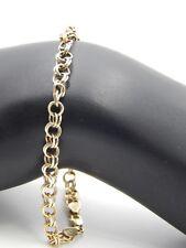 Vintage Designer 14k Yellow Gold Circle Link Chain Charm Bracelet Retro