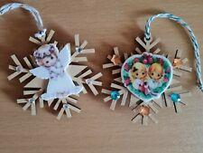 Shabby Chic Xmas Snowflake Decorations -  Precious Moments Angels