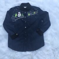 Draper's & Damon's Denim Holiday Christmas Embellished Button Down Top Small