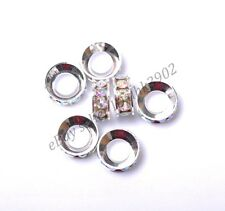 10pcs Quality Crystal Rhinestone Silver Plated Rondelle Charm Spacer Beads