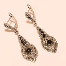 Marcasite Tribal Jewelry Fashion Earrings Sterling Silver Mid Night Black Onyx,