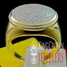 Genuine Diamond Mens 14K Yellow Gold Finish Pave Designer Pinky Band Ring .40 Ct