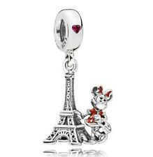 925 Sterling Silver Disne Minnie Mouse Eiffel Tower Dangle Fit European Charm