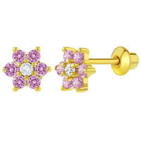 18k Gold Plated Flower Baby Earrings Screw Back Kids Pink Clear 5mm