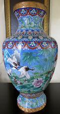 """Large 20"""" Cloisonne Vase Cranes Floral Pattern Asian Oriental"""