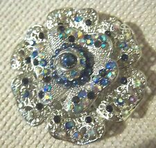 Flower Brooch Asovier Goguette Vintage Style Crystal/Blue Ab Rhinestone