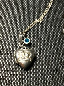 925 Silver Heart Locket Engraved With A Teddy Bear And 14 Inch Chain