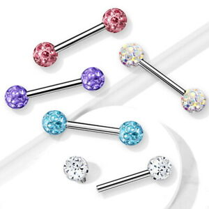 14G EPOXY COVERED CRYSTAL BALL NIPPLE RING BARBELLS SURGICAL STEEL PIERCINGS