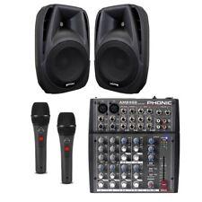 IMPIANTO AUDIO KARAOKE 804 mixer con effetti + diffusori amplificati + microfoni