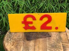 Vintage Original Fairground Ride Sign £2.00 Perspex Raised Numbers Circus 1980's