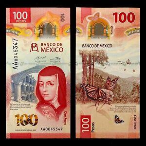 2020 MEXICO 100 PESOS POLYMER P-NEW UNC> > > > >JUANA INES DE LA CRUZ AA PREFIX