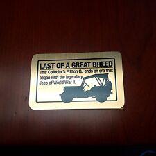 Jeep CJ Dash Plaque