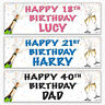 4 Personalised Birthday Party Banners 16th 18th 21st 30th 40th 50th 60th 70th