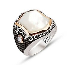 925 Sterling Silver Mens Ring, Turkish Handmade Sterling Silver Pearl stone