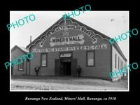 OLD LARGE HISTORIC PHOTO OF RUNANGA NEW ZEALAND, VIEW OF THE MINERS HALL c1910