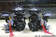 Copper Bronze Palace FengShui Fu Foo Dog Lion Play Ball begnaw Sword Statue Pair