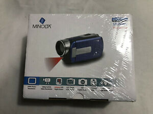 """Minolta MN80NV 1080p Full HD 3"""" Touchscreen Camcorder w/ Nightvision, Blue - New"""