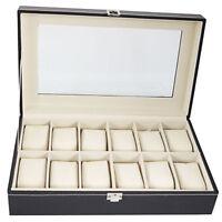 12 Slot Leather Watch Display Box Case Organizer Top Glass Jewelry Storage Black
