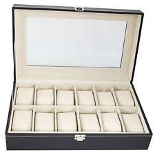 Organizer Top Glass Jewelry Storage Black 12 Slot Leather Watch Display Box Case